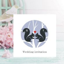 Squirrel Wedding Invitations - Personalised with Initials - FREE Framed Keepsake Print With Every Order